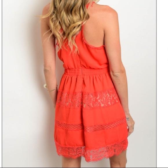 Red lace detail elastic waist mini dress, NEW